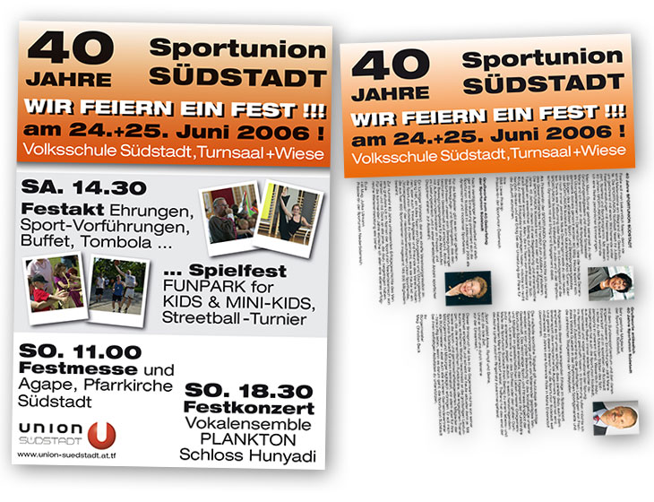 40 Jahre Sportunion Südstadt - Folder + Plakat