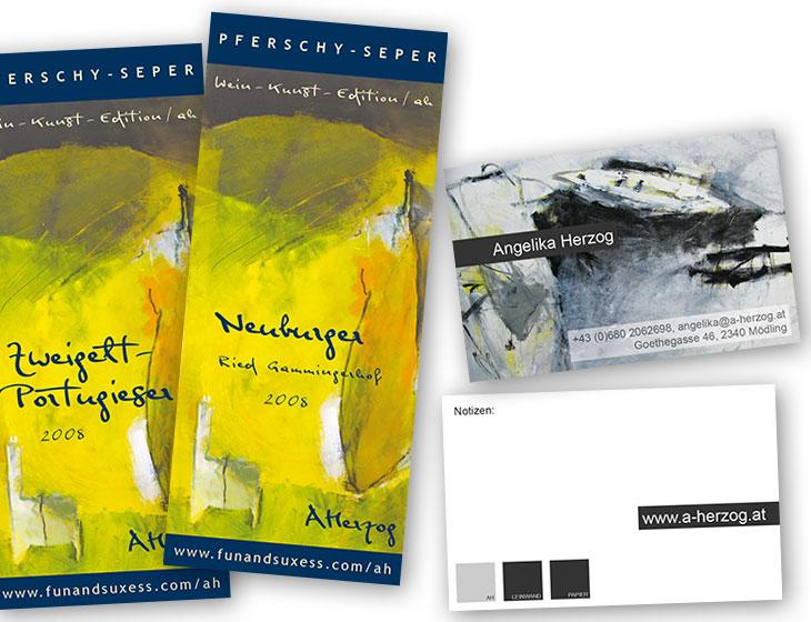 Angelika Herzog - Visitenkarten, Wein-Etikett