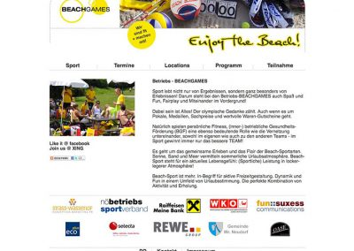 Betriebs-BEACHGAMES - Website