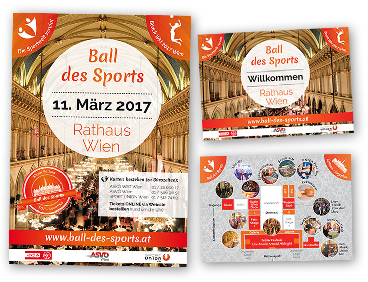 Ball des Sports - Plakat, Folder, Location-Plan