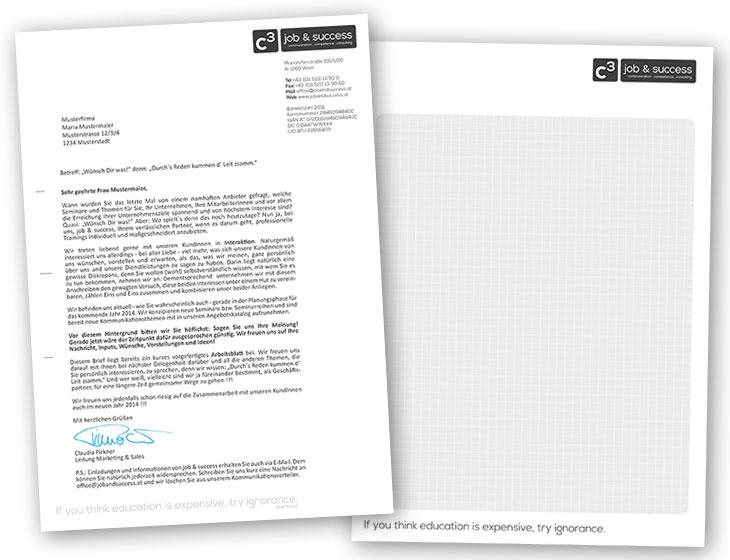 C3 job & success - Brief-Papier, Schreib-Block