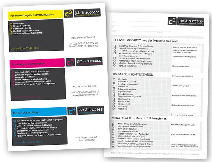 C3 job & success - Branding, Logo-Entwicklung, Drucksorten, Flyer (2013)