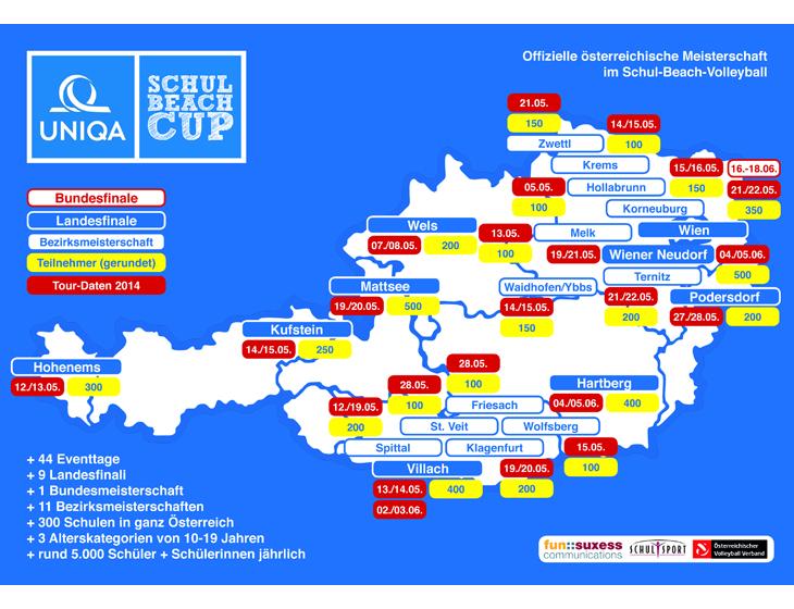 Schulbeach Cup - Österreich - Tour - Karte